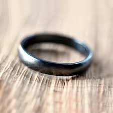 ss wedding ring black silver wedding band brushed men s or women s unisex 4mm low