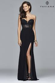 sequined lace sweetheart neck dress with illusion faviana style