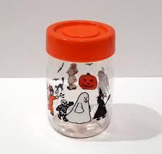 carlton halloween glass jar vintage cookie snack jar 1960s