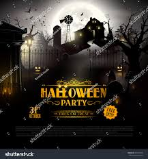 scary old graveyard farm woods halloween stock vector 479116078
