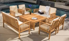 outdoor sitting beckley 8 piece wood outdoor seating set groupon