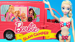 Barbie Glam Bathroom by Barbie Glam Camper Rv Toy Review With Frozen Disney Princess Dolls