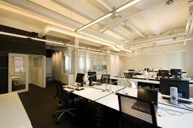 foxy office interior design with unusual ceiling above sweet