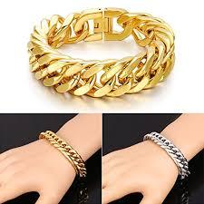 mens gold hand bracelet images Buy generic gold luxury 215mm 18k gold plated chain bracelet men jpg