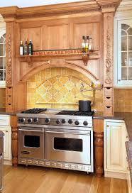 interior brown wooden kitchen cabinet with stove and metal