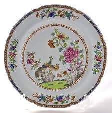 antique spode china printed painted peacock plate no