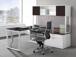Computer Hutch Desk With Doors by Modern L Shaped Station Desk With 2 Door Open Hutch Bridgecreek