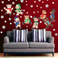 skating bears wall decal kit holiday wall decal kit by chromantics