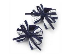 hair bobbles white navy spot bow ponio donut hair bobbles buy 1 get 1 free