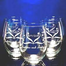 personalized glasses wedding engraved personalized stemless wine glass wedding favors