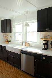 Black Kitchen Cabinets Ikea Farmhouse Sink White Counters And - Ikea black kitchen cabinets