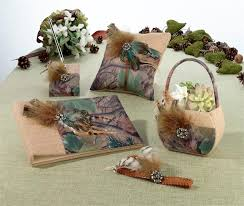 wedding guest book set camouflage wedding guest book pen basket set