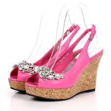 wedding shoes wedges wedge heel slingbacks rhinestone open toes pink wedding shoes