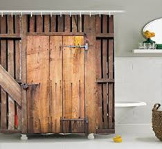 Shower Curtain Door Wooden Barn Door Shower Curtain By Ambesonne Rustic