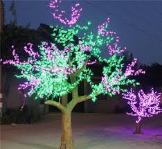 artificial flower outdoor lights led tree wood frame new