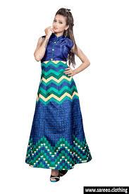 blue color new digital printed banglosy satin designer look fancy