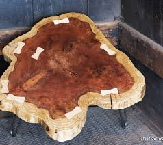 Redwood Coffee Table Redwood Coffee Table With Maple Bowties