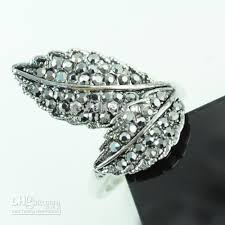 new rings designs images 2018 new rings design double leaf twist alloy rhinestone college jpg