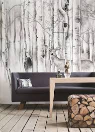 deer in woods wallpaper birch trees wall mural animal forest