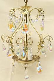 vintage gold swag lamp chandelier hanging light w iridescent