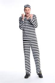 Convict Halloween Costumes Criminal Prisoner Jail Convict Inmate Stripe Men Women Halloween