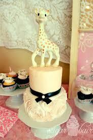 French Inspired Pink Ruffle Rosette Sophie La Giraffe Cake 1st
