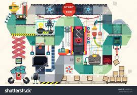 robot factory board game kids infographics stock vector 162037412