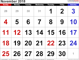 november 2018 calendar with holidays 2018 calendar printable