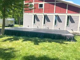 stage with skirting and our beer trailer in the background see
