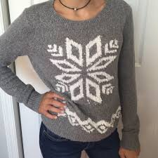 snowflake sweater 55 hollister sweaters hollister grey snowflake sweater size