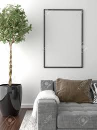 interieur et canapé parquet sur le sol canapé plante d intérieur et cadre photo vide