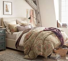 How To Make A Bed With A Duvet Grace Floral Linen Texture Duvet Cover U0026 Sham Pottery Barn
