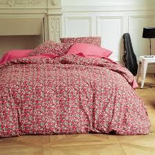housse couette montagne housse de couette coton imprimée fleurs flori rouge 3 suisses