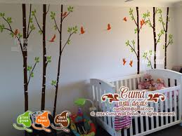 Brown Tree Wall Decal Nursery Birch Tree Wall Decal Birds Nature Forest Vinyl Wall Decals Wall