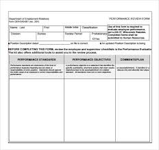 sample employee performance review template 8 free documents