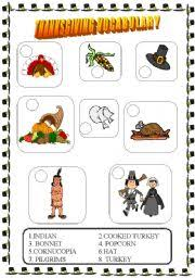 esl worksheets for beginners thanksgiving vocabulary