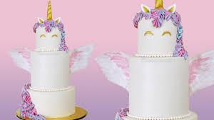 cake tier 3 tier buttercream unicorn cake with edible wings free tutorial