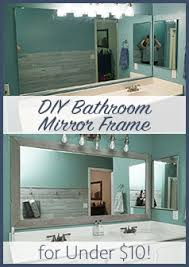 Bathroom Cheap Makeover Diy Bathroom Mirror Frame For Under 10 Blue Wood Stain Mirror