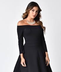 sleeved black dress bettie page black shoulder knit sleeved swing dress