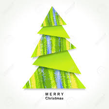 origami christmas tree made of pieces of color paper royalty free