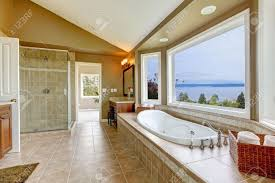 Large Bathroom Large Bath Tun With Water View And Luxury Bathroom Interior In