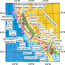 San Andreas Fault Line Map Major Intracontinental Strike Slip Faults And Contrasts In