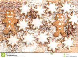 gingerbread man cookie cinnamon stars and star anise stock