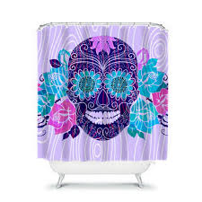 Skull And Crossbones Shower Curtain Lavender Groove Sugar Skull Shower Curtain By Folkandfunky On Etsy