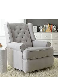 Fuzzy White Chair Best Chairs Finley Swivel Glider Recliner Gray Tweed Babies
