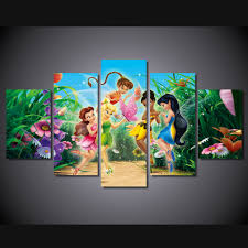 online get cheap fairy posters aliexpress com alibaba group canvas wall art abstract painting frame home decor kids room 5 pieces hd printed cartoon princess fairy pictures poster pengda