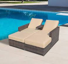 outdoor 3pc rattan wicker sofa patio furniture lounge set chaise