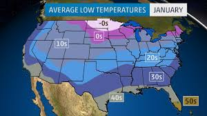 temperature map usa january monthly average temperatures weather