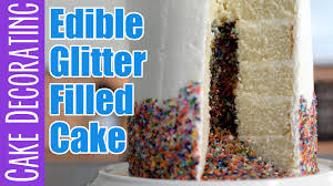 Where To Buy Edible Glitter How To Make An Edible Glitter Filled Cake Youtube