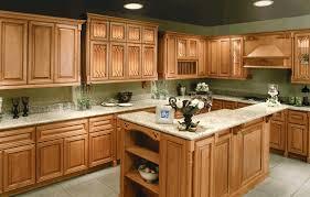 honey oak kitchen cabinets smooth gray granite countertop modern